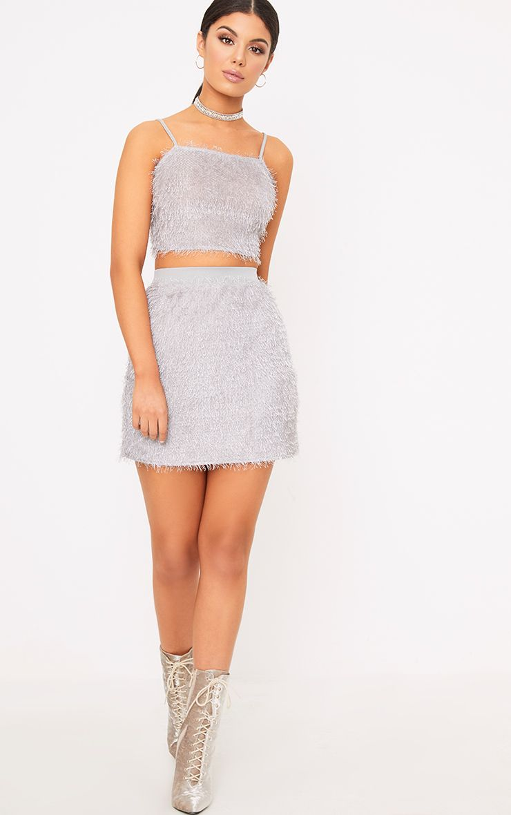 Diala Grey Eyelash Mini Skirt