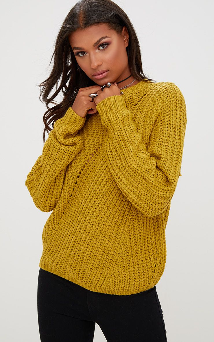 Yellow Chunky Knit Round Neck Jumper