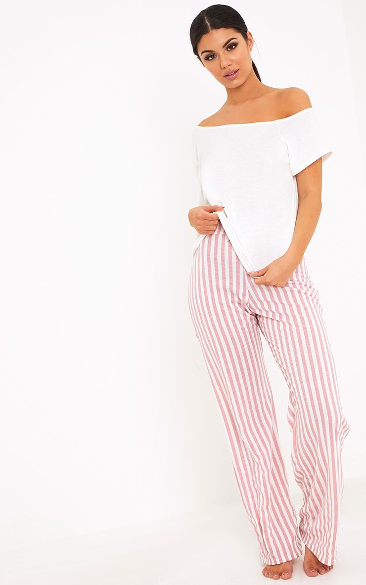 Aviva White Off The Shoulder Top & Bottoms PJ Set