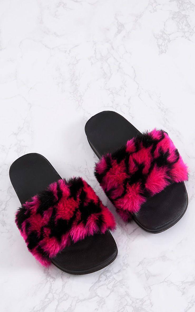 Emeline Hot Pink Printed Fluffy Sliders