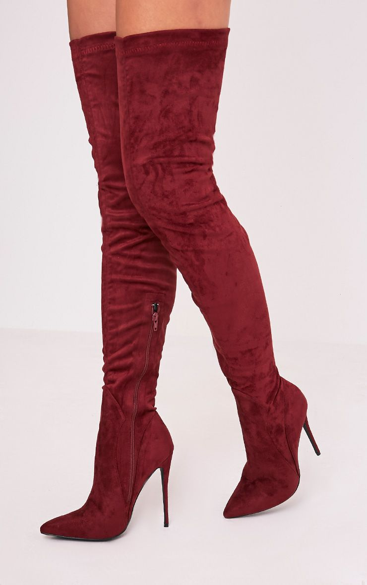 Emmi Burgundy Faux Suede Extreme Thigh High Heeled Boots 1