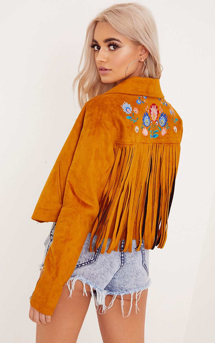Shilla Tan Faux Suede Embroidered Detail Biker