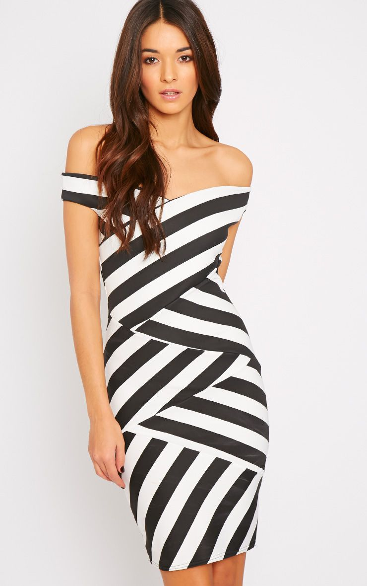 Molly Monochrome Stripe Off Shoulder Dress 1