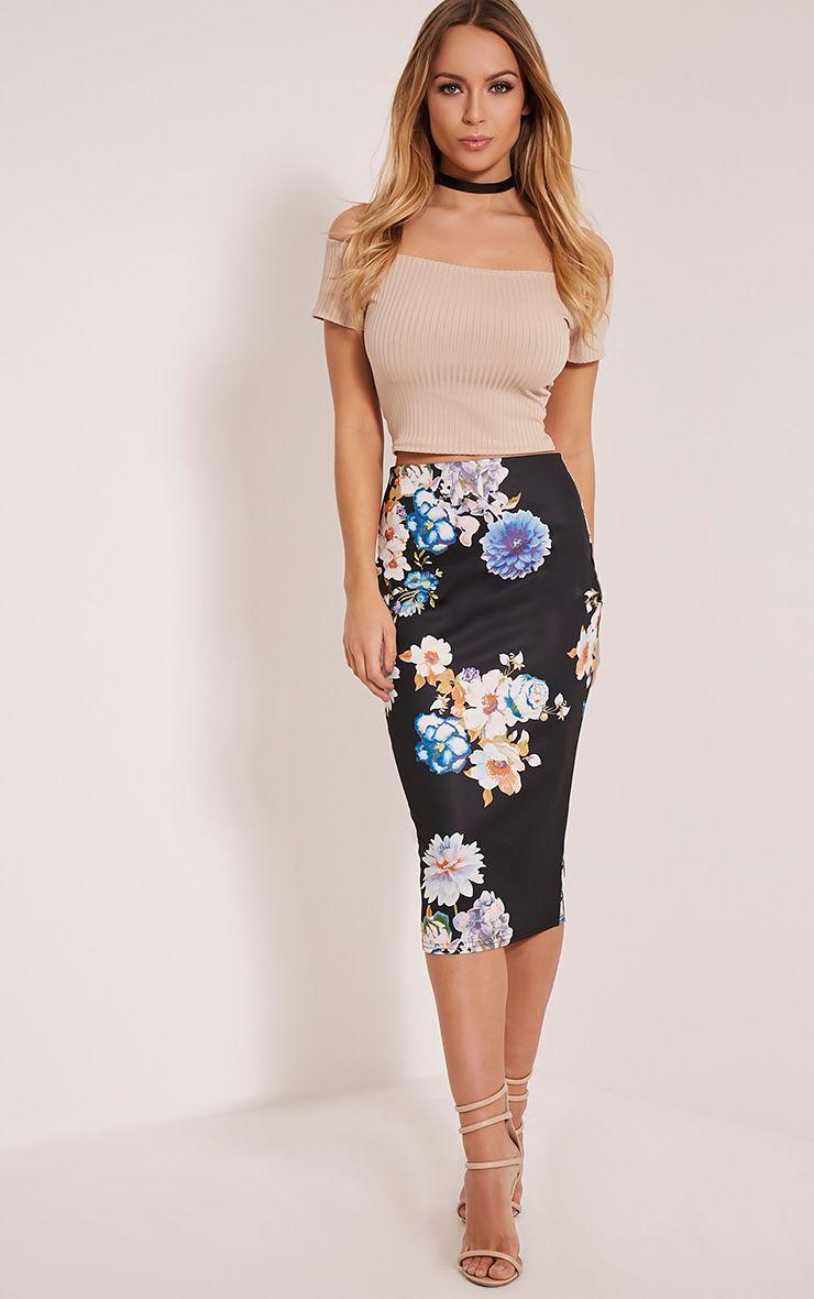Francesca Black Floral Print Scuba Midi Skirt 1
