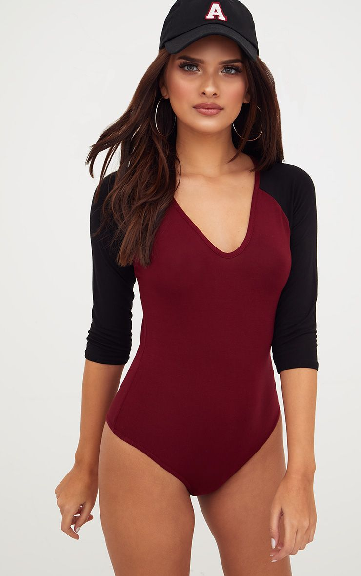 Burgundy Jersey Contrast Sleeve Thong Bodysuit