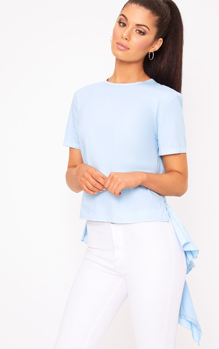 Sky Blue Drop Back Crew Neck Shirt