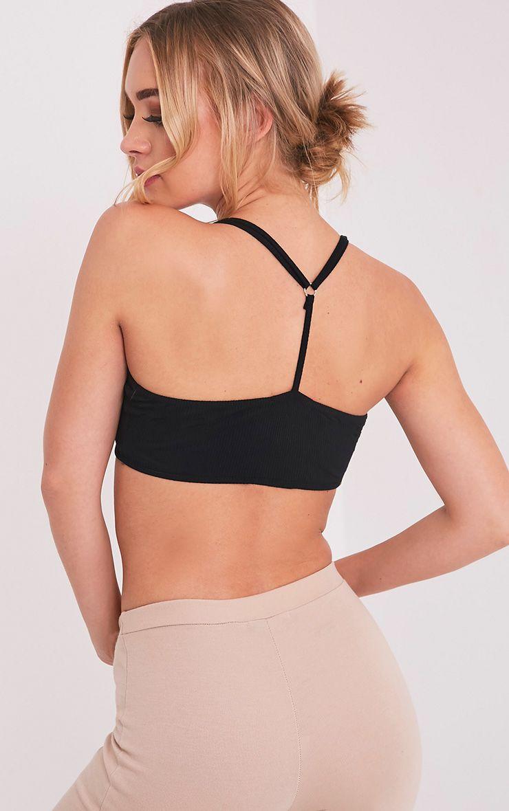 Basic brassière noire côtelée en jersey à bretelles dorsales croisées 2