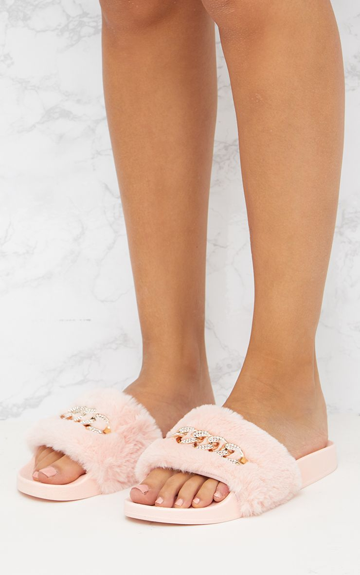 Blush Faux Fur Diamante Chain Sliders