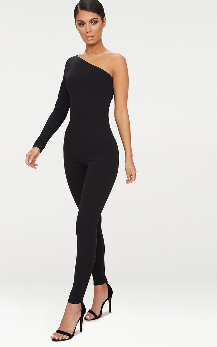 Black Long Sleeve One Shoulder Jumpsuit