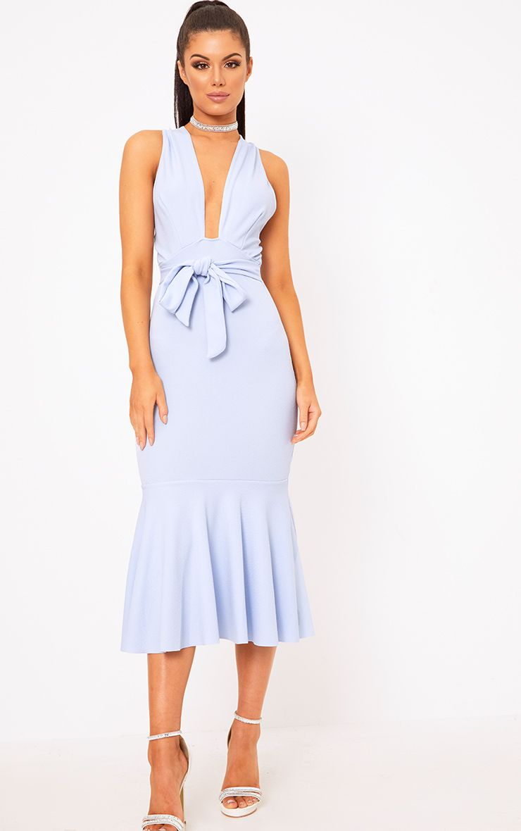 Dusty Blue Plunge Fishtail Midi Dress