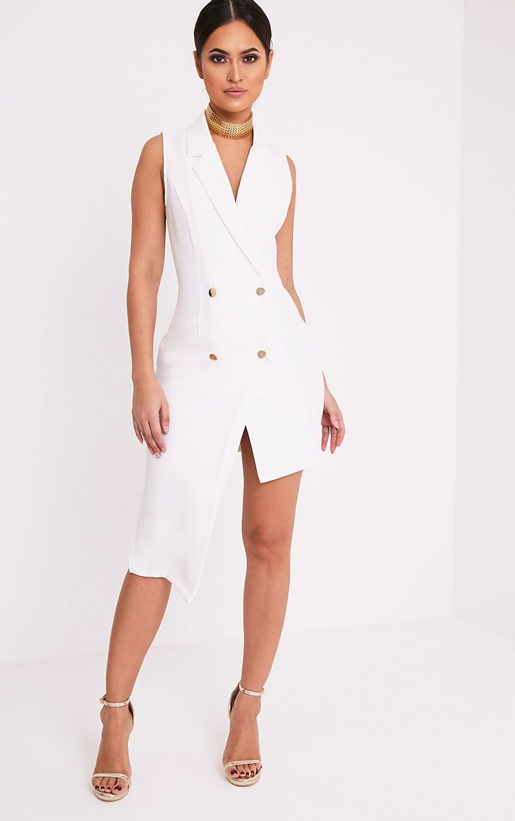 Samanthia White Asymmetric Blazer Dress