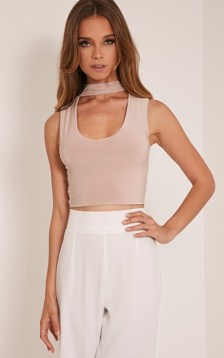 Melrose Stone Cut Out Neck Slinky Crop Top