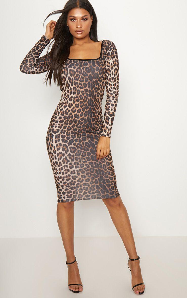 Leopard Print Square Neck Open Back Midi Dress