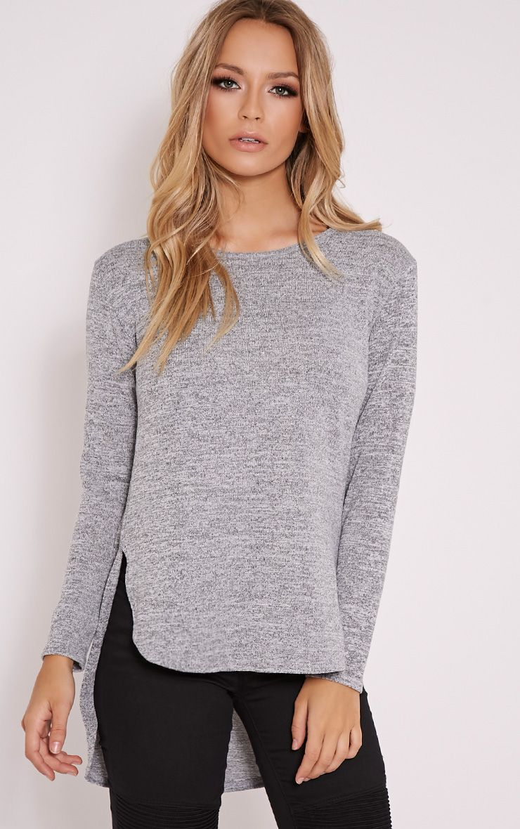 Pearl Silver Drop Hem Fine Knitted Top 1