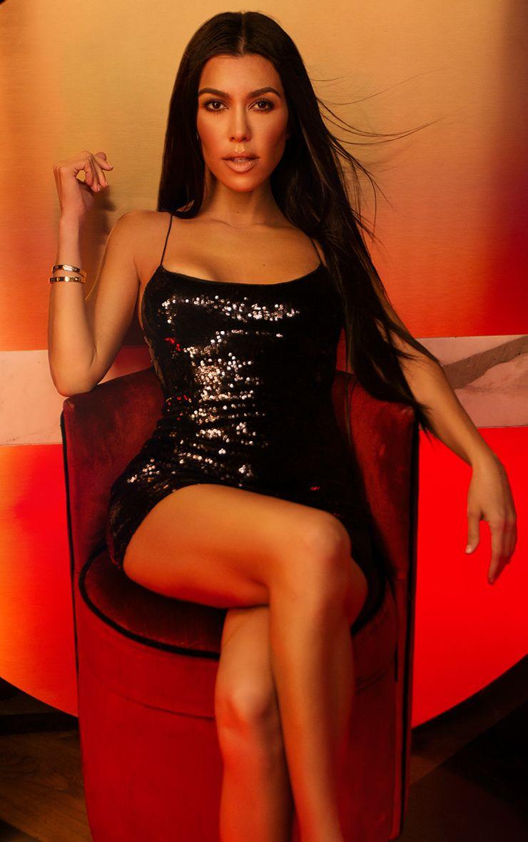 Black Strappy Sequin Bodycon Dress