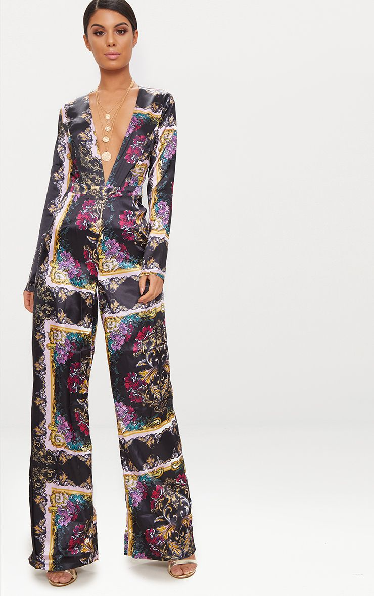 Pink Satin Scarf Print Long Sleeve Plunge Jumpsuit 1