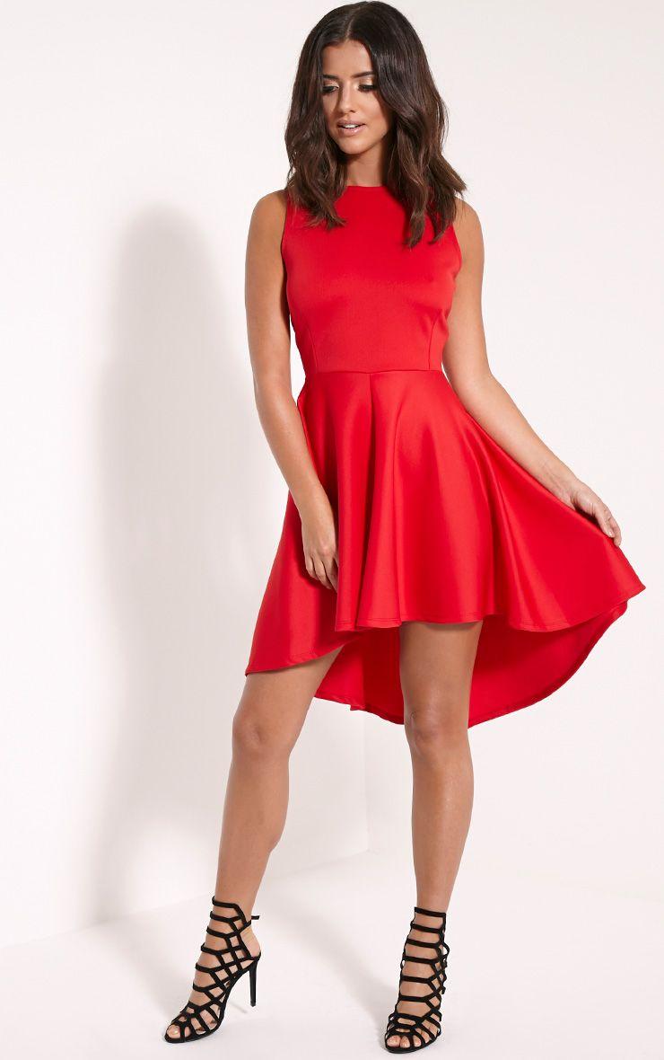 Leyla Red Drop Hem Backless Midi Dress 1