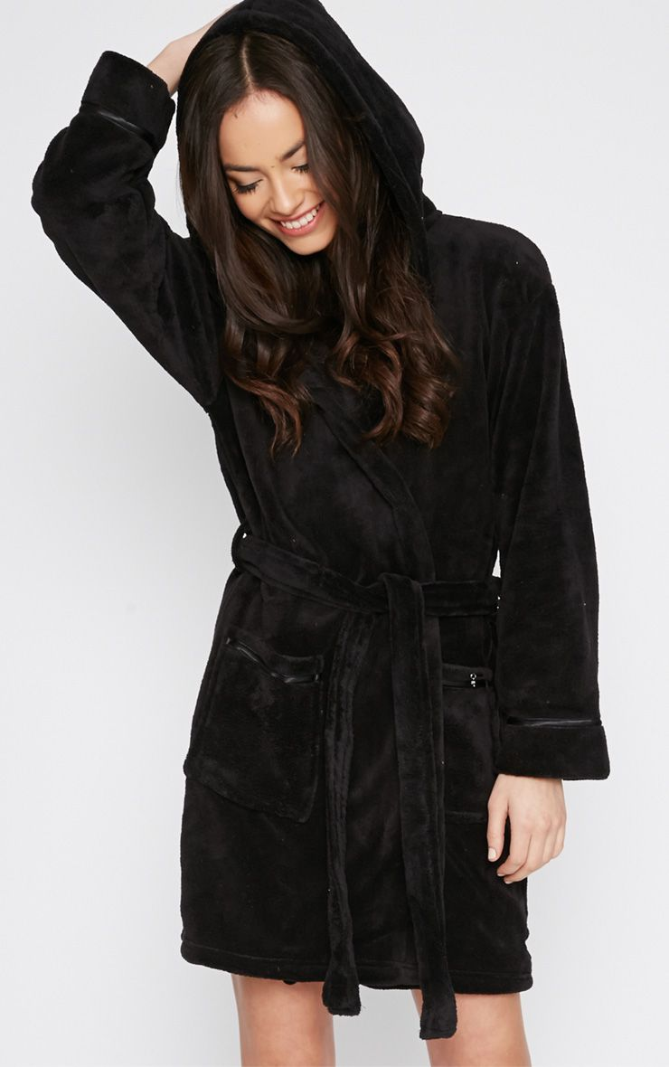 Erin Black Fleece Dressing Gown  1