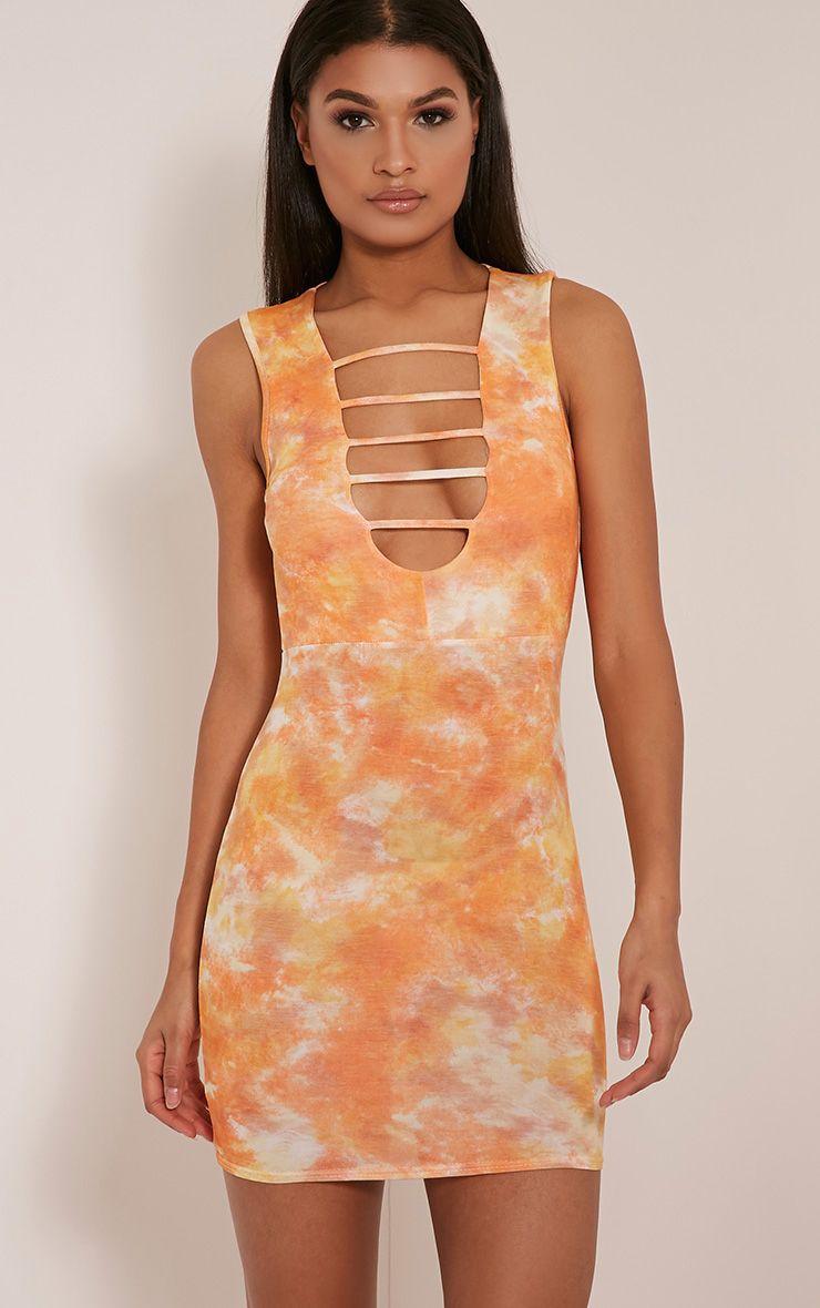 Daniella Orange Strap Front Tie Dye Bodycon Dress 1