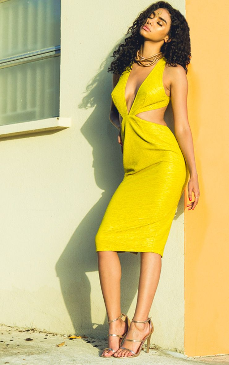 Dale Acid Yellow Textured Plunge Cross Back Midi Dress