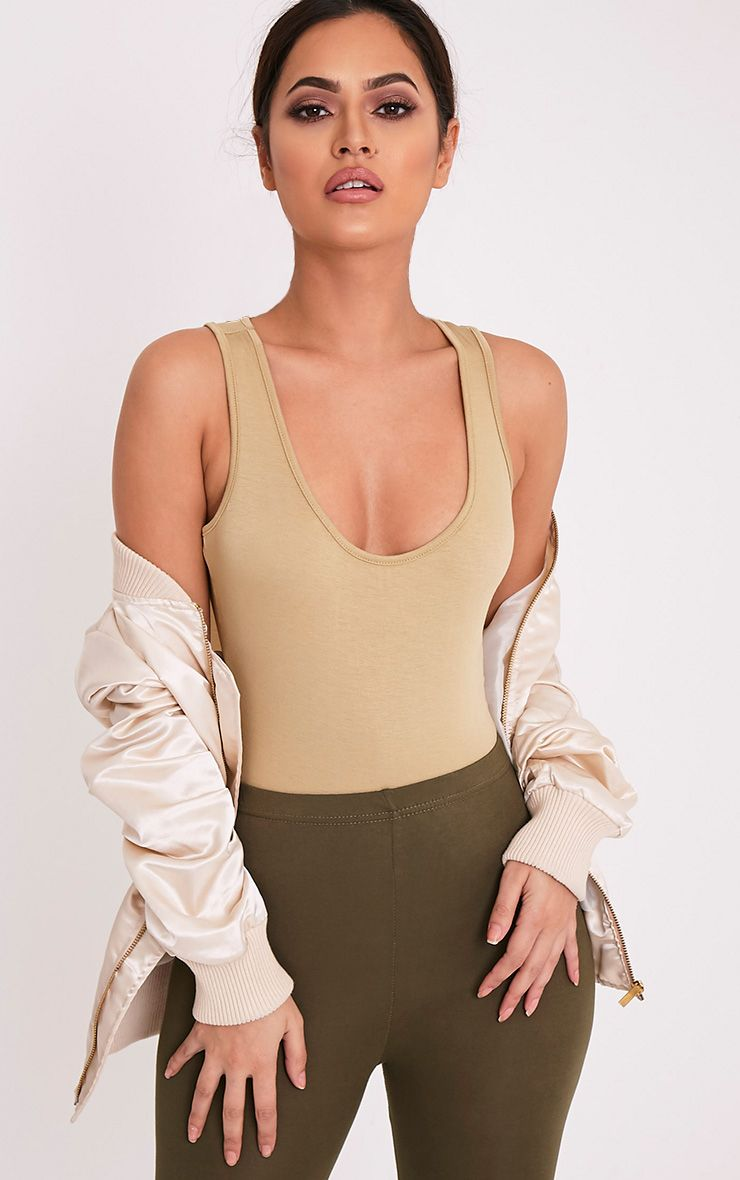 Basic Pale Khaki Racer Back Thong Bodysuit