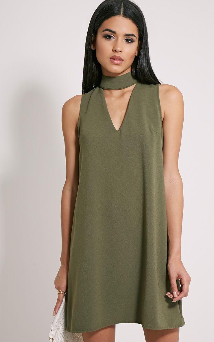 Cinder Khaki Choker Detail Loose Fit Dress