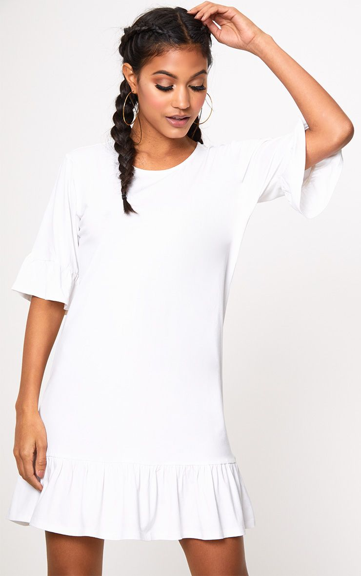White Jersey Frill Hem Shift Dress