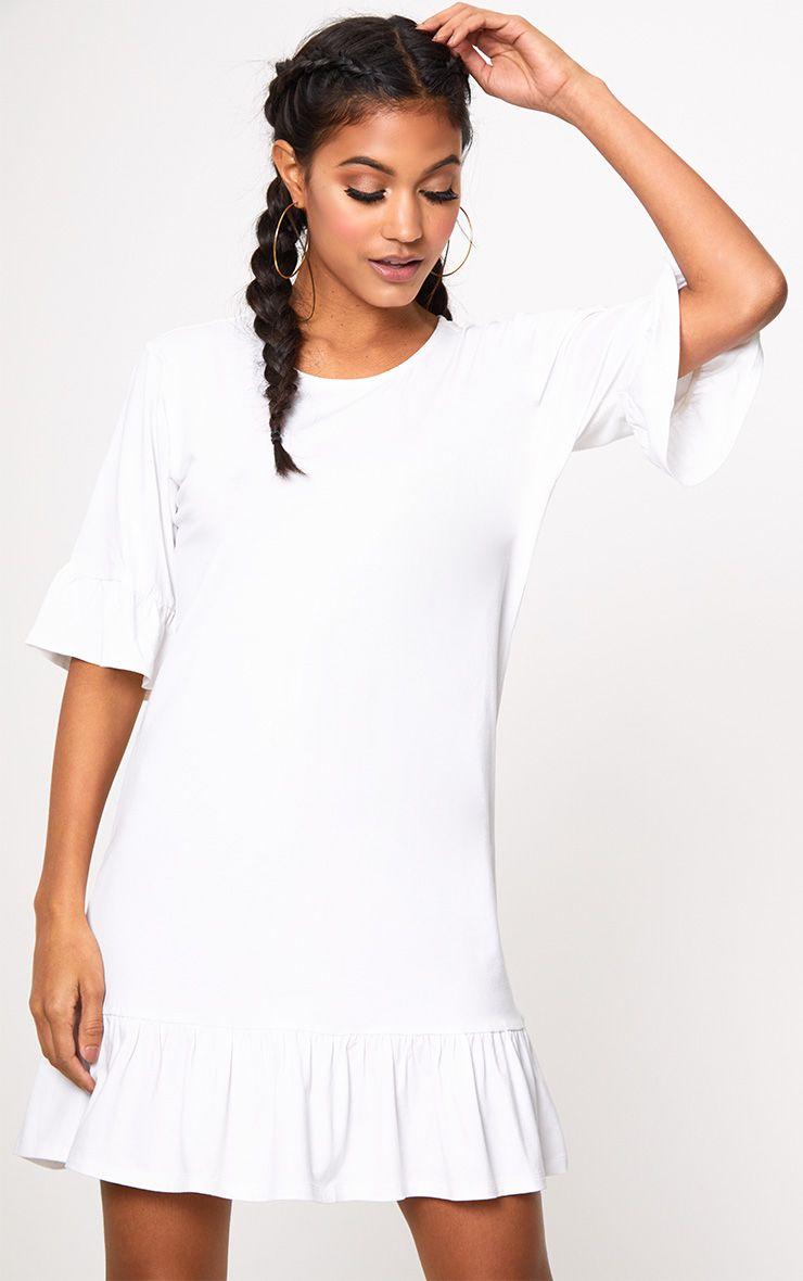 Robe droite blanche à ourlet volanté en jersey