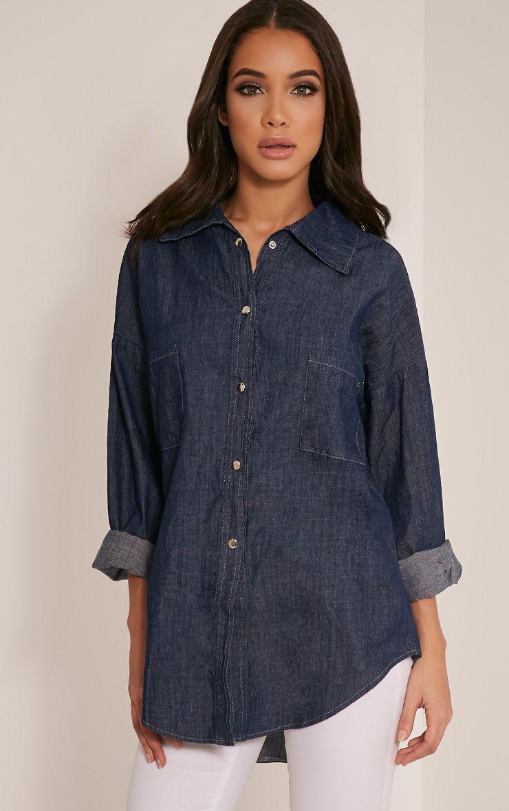 Joleen Mid Wash Oversized Denim Shirt