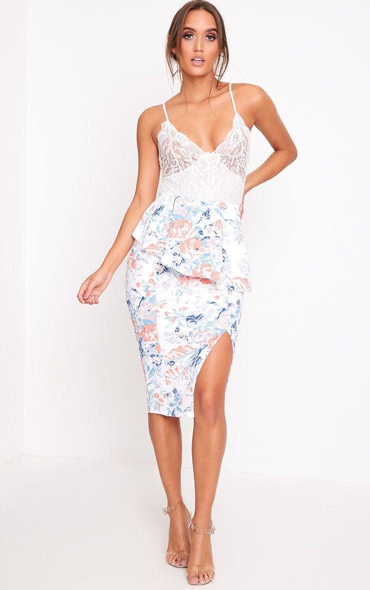 Blue Floral Frill Waist Split Midi Skirt
