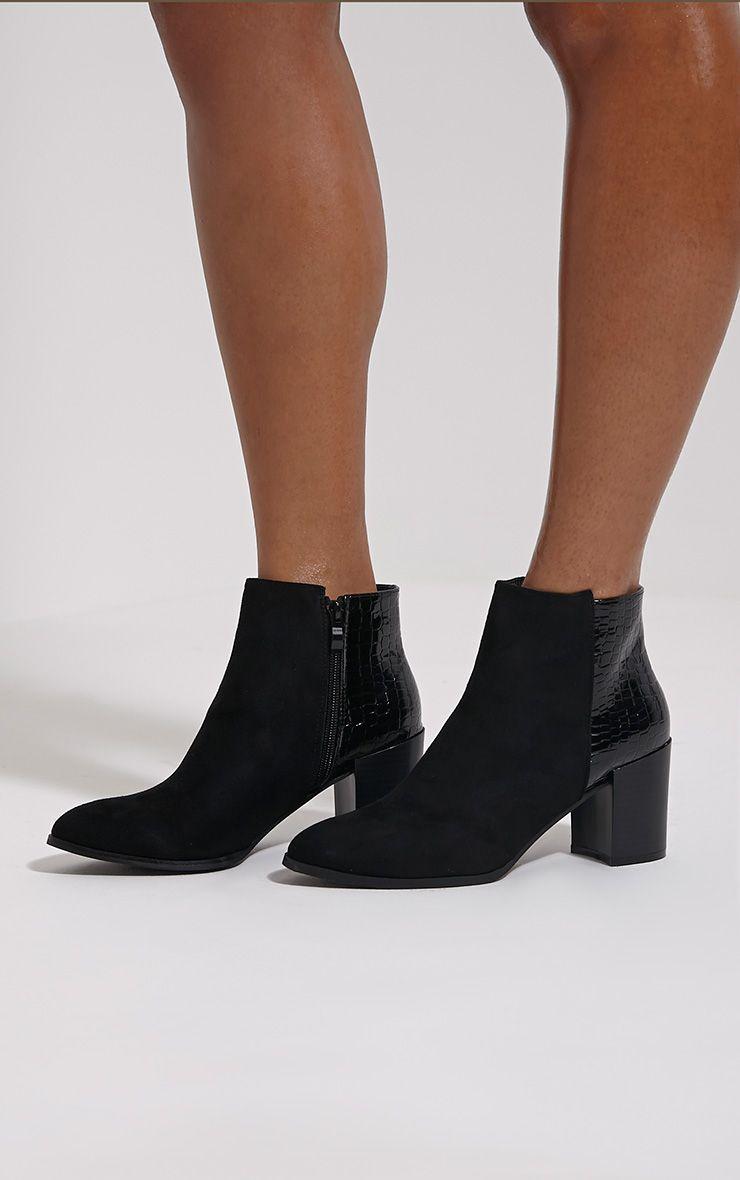 Kimi Black Croc Patent Heel Suede Boots 1