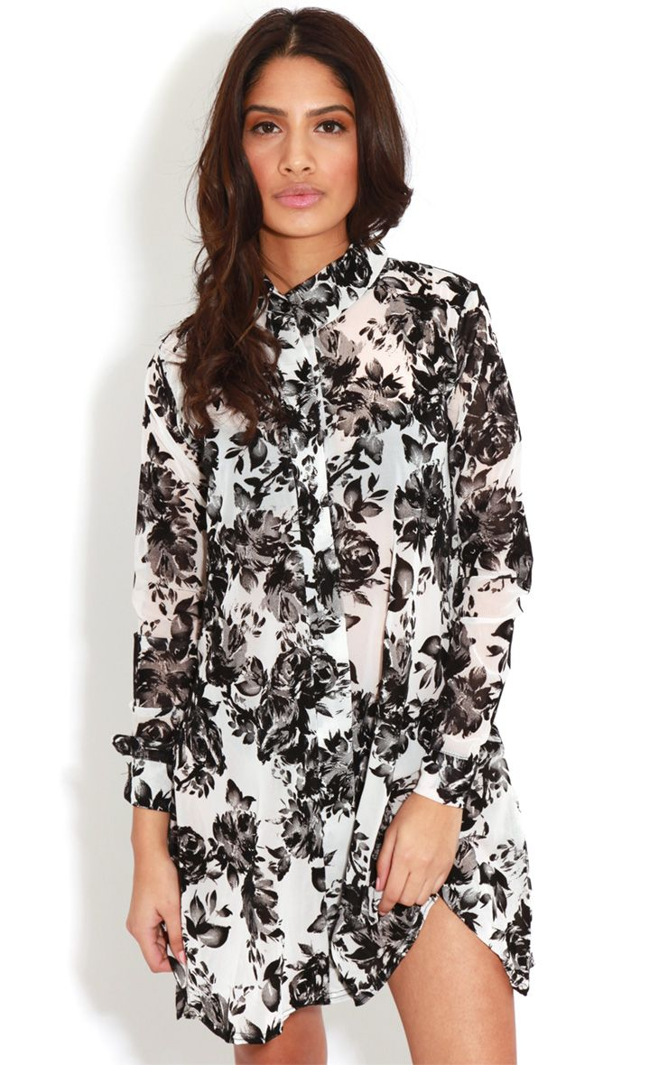 Brianna Monochrome Floral Shirt Dress -16 1