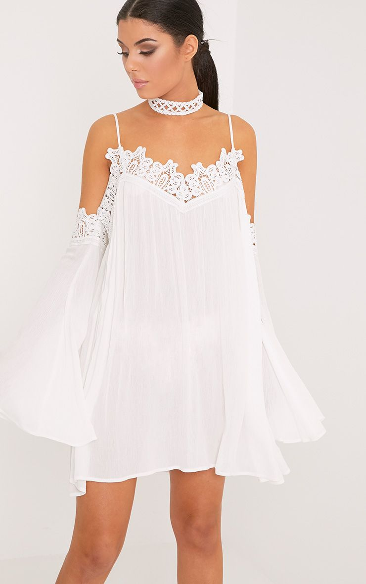 Marisol White Cheesecloth Cold Shoulder Choker Swing Dress