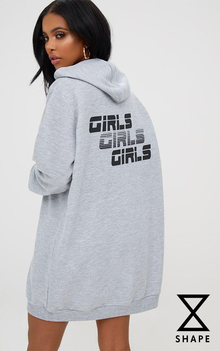 Shape robe sweat à capuche et slogan Girls gris chiné