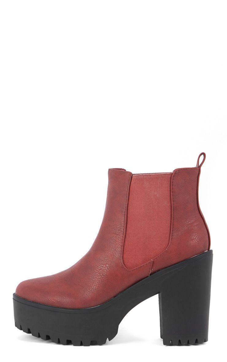 Jaida Burgundy Chunky Chelsea Boot 1