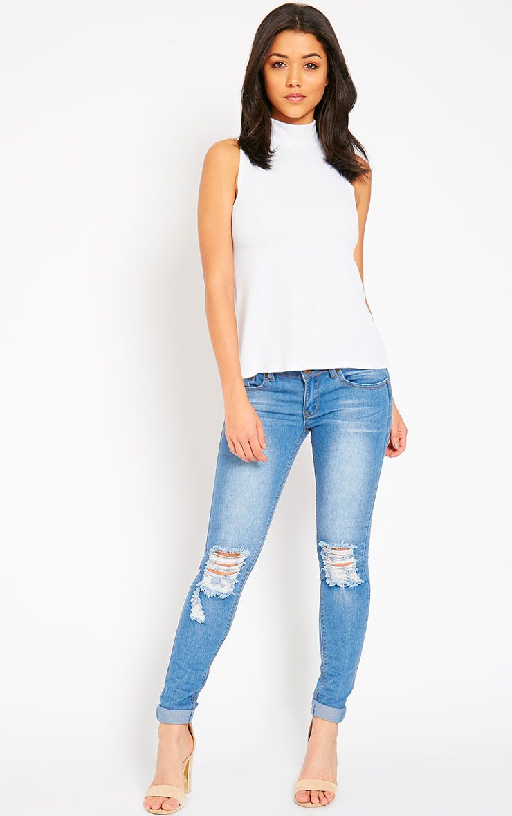 Reva Blue Distressed Knee Jean 1
