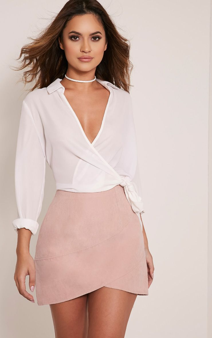 Bexley Blush Wrap Hem Faux Suede Mini Skirt