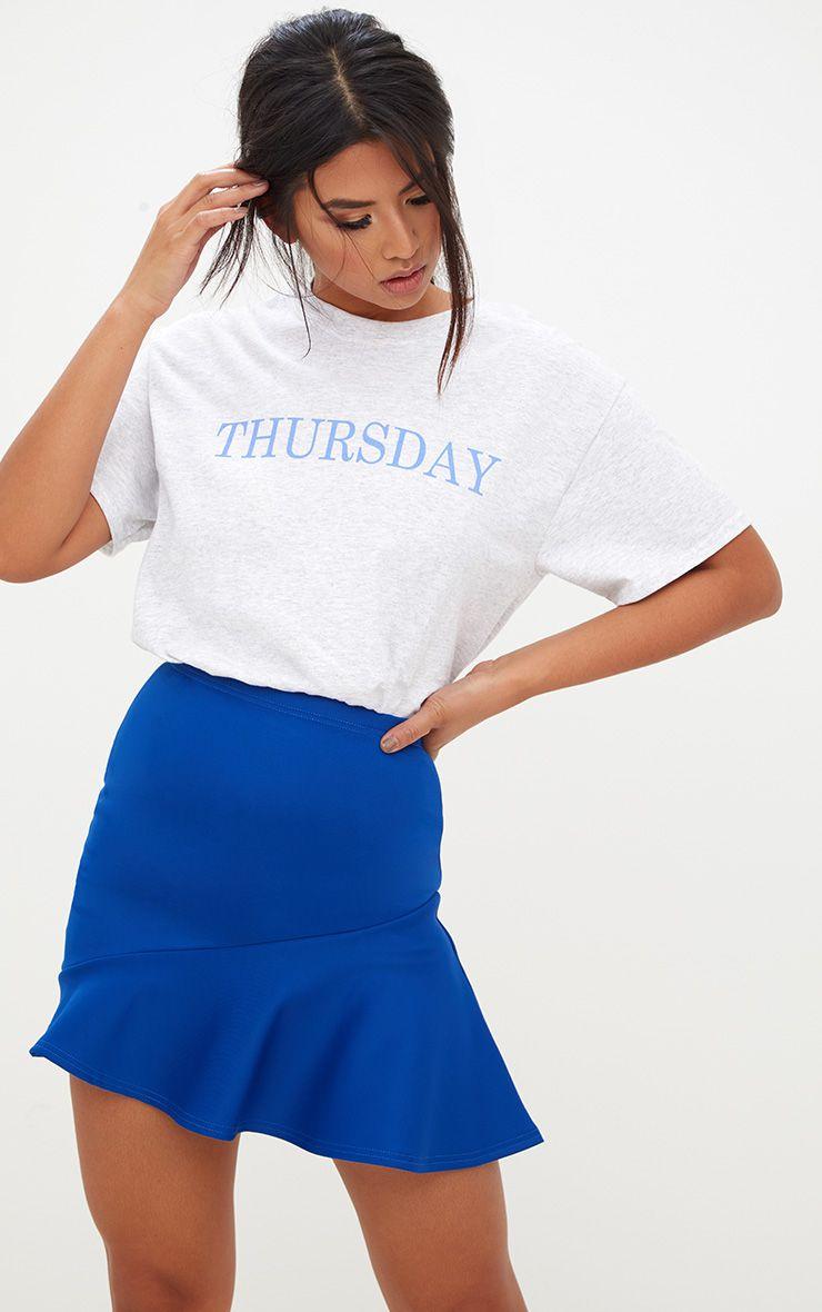 Cobalt Asymmetric Frill Hem Mini Skirt