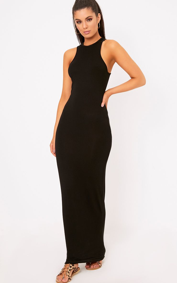 Black Jersey Racer Neck Maxi Dress