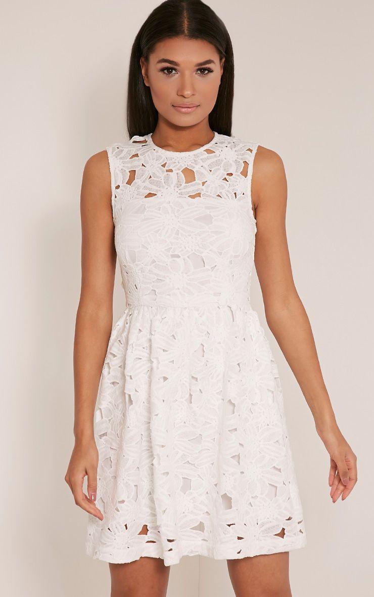 Antonia White Crochet Lace Skater Prom Dress