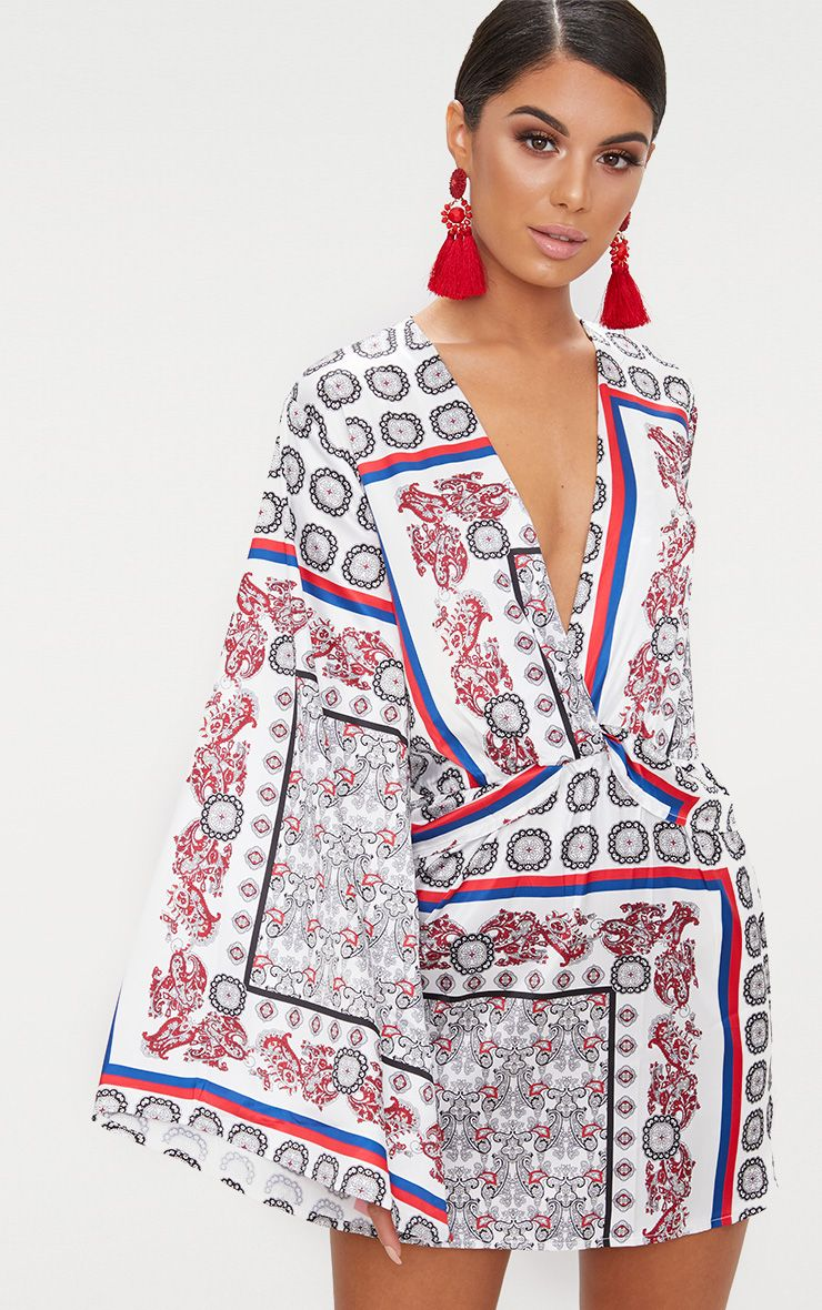 White Printed Kimono Sleeve Plunge Shift Dress