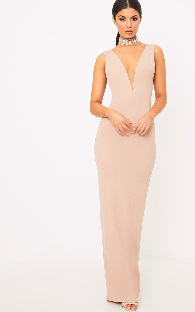 Flossie Nude Plunge Maxi Dress