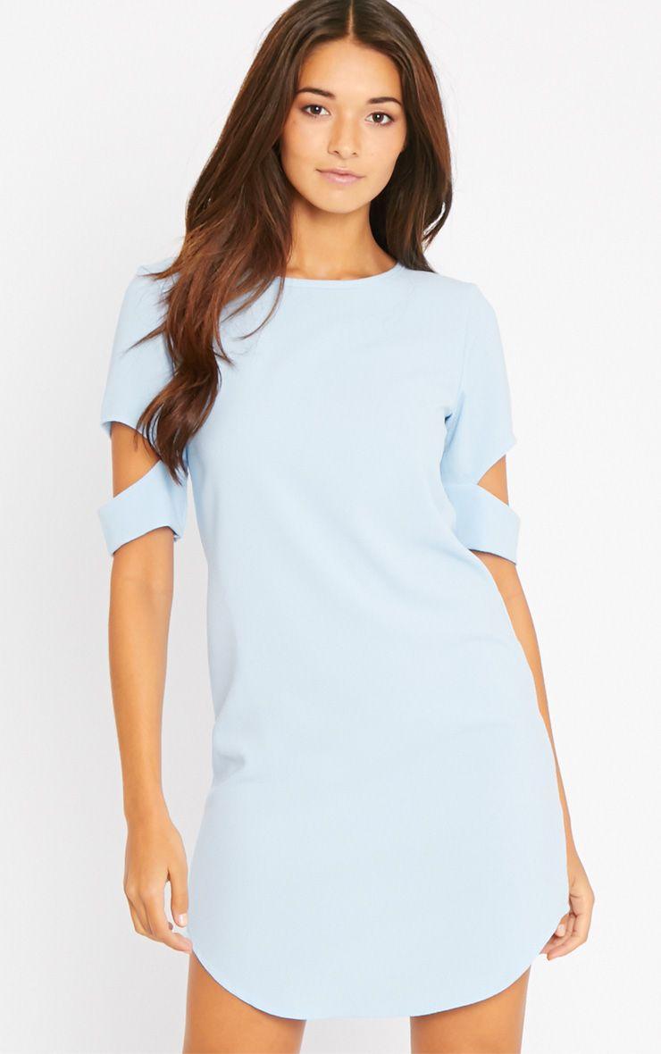 Nina Baby Blue Split Sleeve Waffle Shift Dress 1