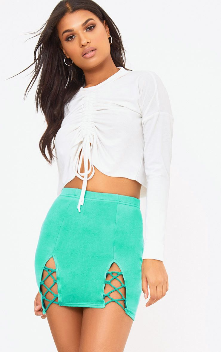 Green Split Lace Up Sweat Mini Skirt