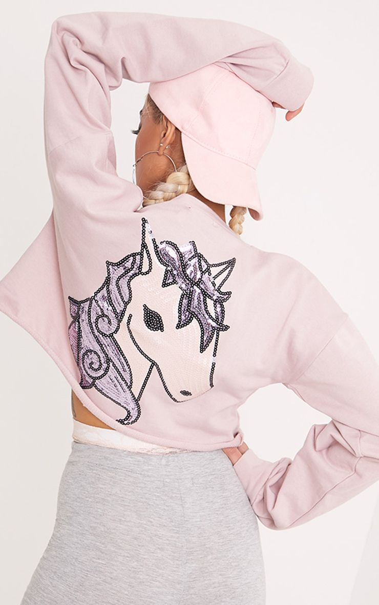 Beau Lilac Unicorn Applique Cut Off Sweater 1