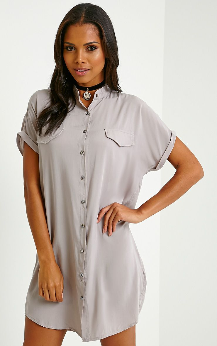 Valeria Grey Cap Sleeve Shirt Dress 1
