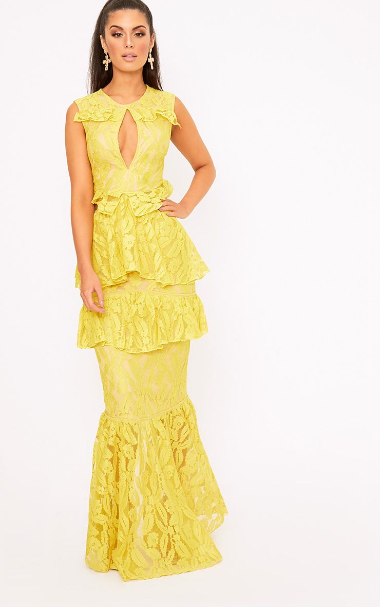 Katelyn Yellow Lace Ruffle Detail Maxi Dress
