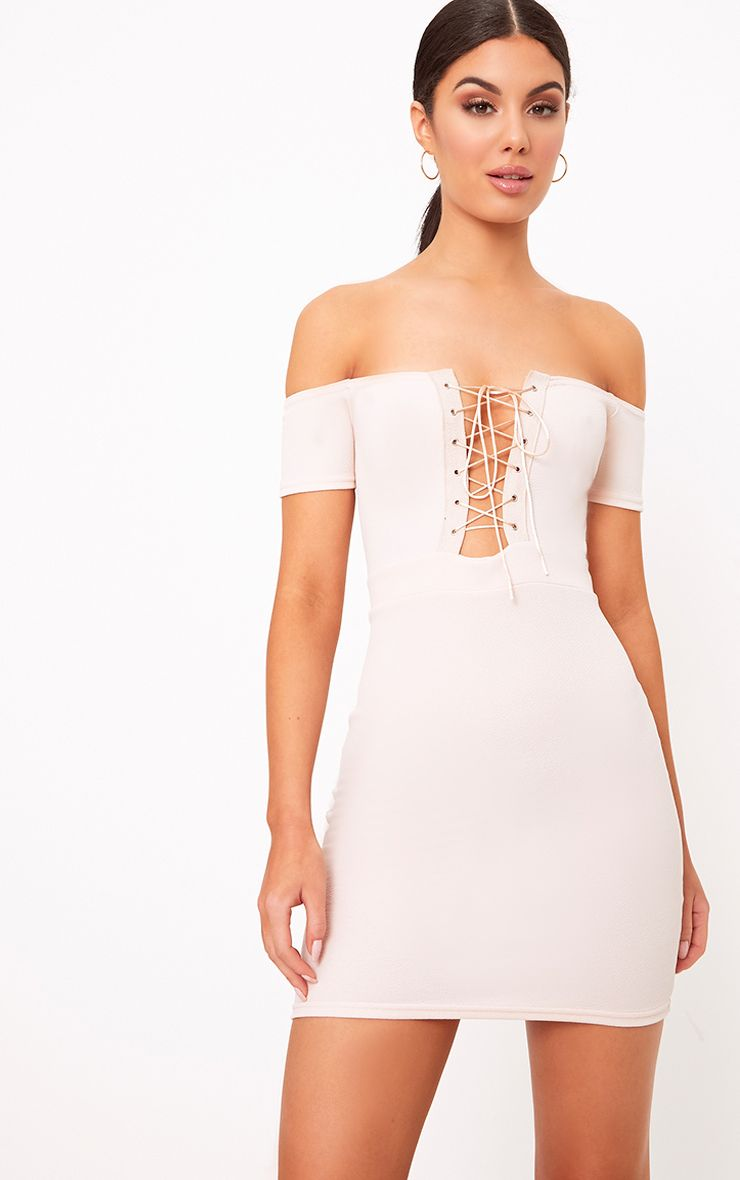 Florie Nude Bardot Corset Detail Bodycon Dress