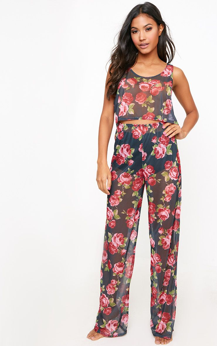 Black Floral Crop Top PJ Set