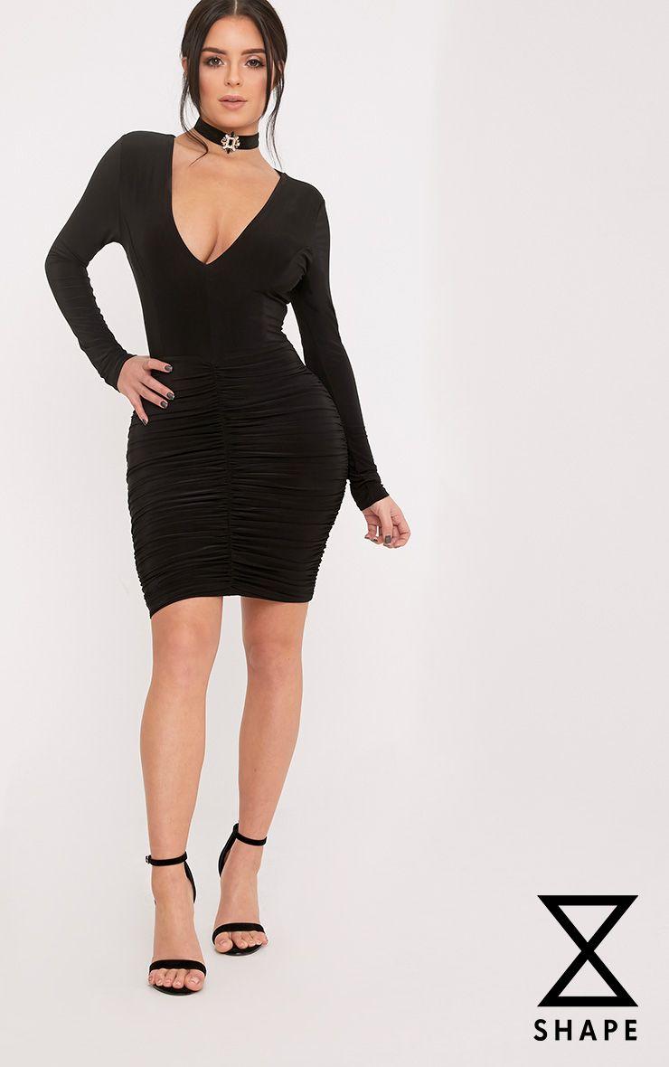 Shape Alyssah Black Slinky Ruched Mini Dress